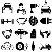 pic of headlight  - Car maintenance and repair icon set in black - JPG