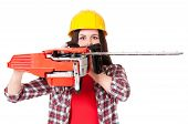 picture of chainsaw  - Portrait of young woman with gasoline - JPG