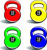 Kettlebells of various weights on white background