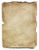Old paper sheet, isolated on white with shadow.