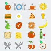 picture of continental food  - Vector food icons set in flat style - JPG