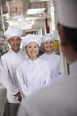 image of pep talk  - Head chef speaking to assistants - JPG