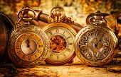 stock photo of watch  - Vintage Antique pocket watch - JPG