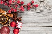 picture of twinkle  - Christmas decoration on wood background with free space for your text