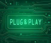 stock photo of pnp  - Abstract style illustration depicting printed circuit board components with a Plug and Play concept - JPG