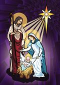 image of bethlehem star  - Vector illustration of the holy family of the nativity or birth of Jesus created as stained glass - JPG