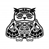 stock photo of indian totem pole  - Vector illustration of an owl - JPG