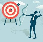 image of archery  - Vector illustration of Retro styled Businessman hitting the corporate Sales Charts with a bow and arrow - JPG