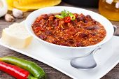 stock photo of baguette  - Chili con carne  - JPG
