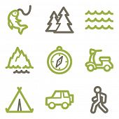 Travel icons, green line contour series