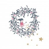 stock photo of mistletoe  - winter holiday theme with little fairy and mistletoe wreath - JPG