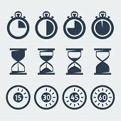 picture of sand timer  - Vector isolated timers icons set over white - JPG