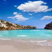 stock photo of porter  - Cala en Porter beautiful beach in menorca at Balearic islands of spain - JPG