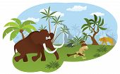 foto of caveman  - Vector illustration of world of stone age  - JPG