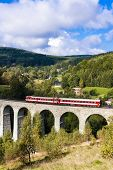 picture of motor coach  - engine carriage on viaduct Novina - JPG