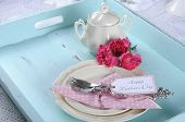 image of carnations  - Happy Mothers Day aqua blue breakfast morning tea vintage retro shaby chic tray setting with antique fine china plates pink carnations and sugar bowl - JPG