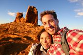 stock photo of canary-islands  - Happy couple taking selfie self - JPG