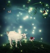 stock photo of baby goat  - Baby goat in a fantasy hilltop landscape with a snail and butterflies - JPG