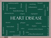 picture of angiogram  - Heart Disease Word Cloud Concept on a Blackboard with great terms such as plaque ischemia factors and more - JPG