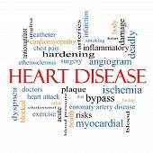 image of angiogram  - Heart Disease Word Cloud Concept with great terms such as plaque ischemia factors and more - JPG