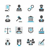 stock photo of punishment  - Law legal justice crime and punishment  icons set with handcuff barrister isolated vector illustration - JPG