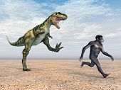 stock photo of homo  - Computer generated 3D illustration with the Dinosaur Bistahieversor and the Homo Habilis - JPG