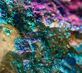 foto of iron pyrite  - Crystal nugget gold bronze copper iron. Macro. Extreme closeup