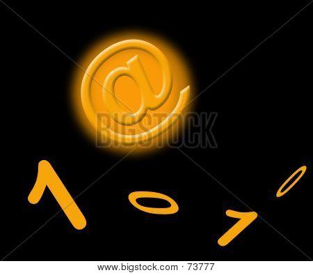 Orange E-mail Sign poster