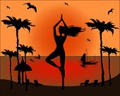 stock photo of natarajasana  - silhouette of woman doing yoga on a tropical beach - JPG