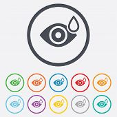 stock photo of dripping  - Eye with water drop sign icon - JPG
