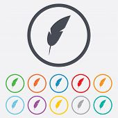 image of light weight  - Feather sign icon - JPG