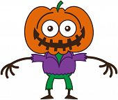 pic of embarrassing  - Funny scarecrow with a big orange pumpkin as head - JPG