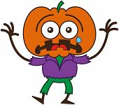 stock photo of scarecrow  - Cute scarecrow with a big orange pumpkin as head - JPG