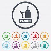 image of fragile sign  - Fragile parcel sign icon - JPG