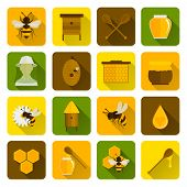 picture of honey bee hive  - Bee honey icons flat set with beekeeper honeycomb beehive isolated vector illustration - JPG
