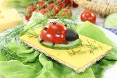 image of crisps  - Crisp bread with cheese tomato and dill - JPG