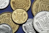 ������, ������: Coins of Ukraine Ukrainian national coat of arms known as the Tryzub depicted in Ukrainian hryvnia
