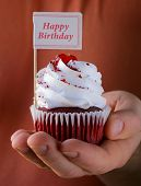 pic of red velvet cake  - festive red velvet cupcakes with a gift compliment card - JPG