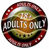 stock photo of pornographic  - 18 adults only round red icon isolated - JPG