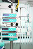 stock photo of pacemaker  - Electronic pumps at the bed in the hospital - JPG