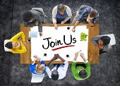 picture of joining  - Multiethnic Group of People Discussing About Join Us - JPG
