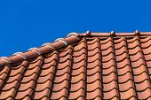 foto of red roof tile  - Red roof tile pattern over blue sky