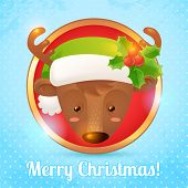 foto of rudolf  - Merry christmas greeting card with deer head portrait vector illustration - JPG