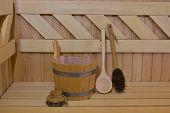 pic of sauna  - Wood accessory in the Sauna  - JPG