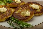 picture of hash  - Hash browns with herbs on the plate - JPG