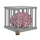 stock photo of sensory perception  - This is an illustration of caged mind - JPG