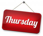pic of thursday  - thursday next day schedule concept for appointment or event in agenda - JPG