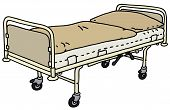 foto of bunk-bed  - Hand drawing of an old metal hospital bed - JPG