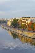 stock photo of mile  - View to the golden mile quay in Moscow city center in the morning - JPG