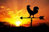stock photo of roosters  - Rooster weather vane against sunrise with bright colors in clouds - JPG